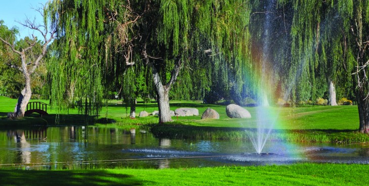 Decorative fountain, trees and shining rainbow on the golf course